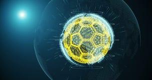 Fotbollbollen och kontinenter av planeten jordar en kontakt att rotera på en lutningbakgrund och att bestå av linjer och partikla stock video