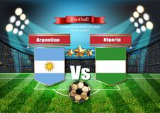 FotbollbrädeArgentina flagga VS Nigeria Match 2018 för världsmästerskapmall teams fotbollnationsflaggor Rött och stock illustrationer