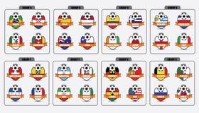 Fotbollemblem royaltyfri illustrationer