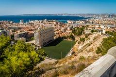 Fotbollfält i Marseille Arkivbild