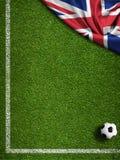 Fotbollfält med bollen och flaggan av Förenade kungariket vektor illustrationer