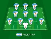 Fotbollfält med de Argentina landslagspelarna stock illustrationer