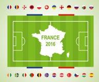 Fotbollfält med deltagandeländer till den sista fotbollturneringen av euroet 2016 i Frankrike Royaltyfri Fotografi