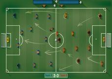 Fotbollfält med den symbolsfotbollspelare och bollen Arkivbilder