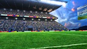 Fotbollfält med ljus och tolkningen för spectorspanorama 3d arkivfoto