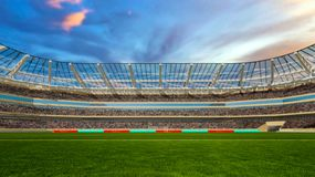 Fotbollfält med ljus och tolkningen för spectorspanorama 3d Arkivbild