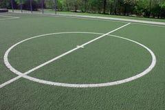 Fotbollfält med medelcirkeln Royaltyfria Bilder