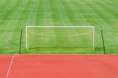 Fotbollfält med porten Royaltyfria Foton