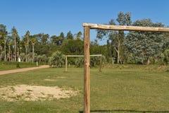 Fotbollfält med trämål amatory royaltyfri fotografi