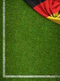 Fotbollfält med Tysklandflaggan royaltyfri illustrationer