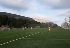 Fotbollfält mellan berg Arkivfoto