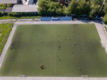 Fotbollfält utan fans royaltyfria bilder