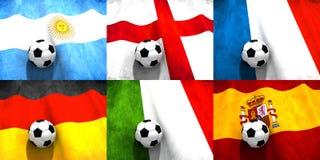 Fotbollflaggor royaltyfri illustrationer
