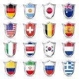 Fotbollflaggor på sköldar royaltyfri illustrationer