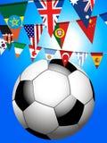 Fotbollfotboll och världsbuntingbakgrund royaltyfri illustrationer