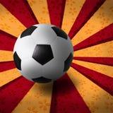 Fotbollfotboll på strålbakgrund vektor illustrationer