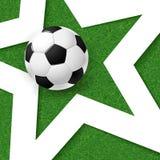 Fotbollfotbollaffisch Gräsbakgrund med den vit stjärnan och soc Royaltyfri Bild