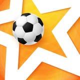 Fotbollfotbollaffisch Ljus orange bakgrund, vit stjärna och Fotografering för Bildbyråer