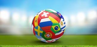 Fotbollfotbollboll med den olika tolkningen för nationer 3d royaltyfri illustrationer