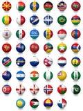 Fotbollfotbollbollar med nationsflaggatexturer stock illustrationer