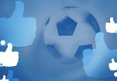 Fotbollfotbollbollen 3d framför bakgrund Arkivfoto