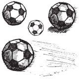 Fotbollfotbollbollen skissar fastställt som isoleras på vit bakgrund Arkivfoto