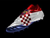 Fotbollfotbollkängan med flaggan av Kroatien skrivev ut på den vektor illustrationer