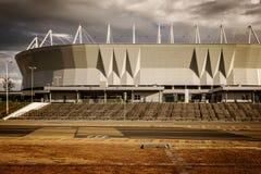 Fotbollfotbollsarena som bygger den Rostov arenan i Rostov-On-Don, arkivfoton
