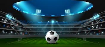 Fotbollfotbollsarenastrålkastare stock illustrationer