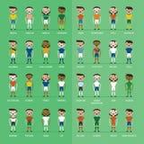 Fotbollfotbollsspelaregrupp royaltyfri illustrationer