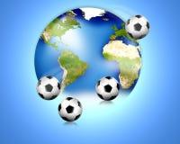 Fotbollfotbollvärlden klumpa ihop sig 3D framför Beståndsdelar av denna avbildar möblerat av NASA Fotografering för Bildbyråer