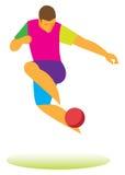 Fotbollfristil fotbollsspelaren utför ett trick med bollen Royaltyfri Bild