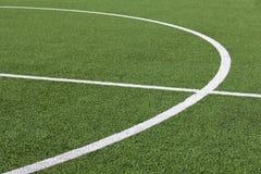 Fotbollgräs och linjer Arkivfoto