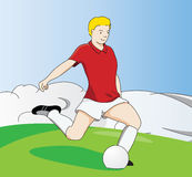 fotbollkick Stock Illustrationer