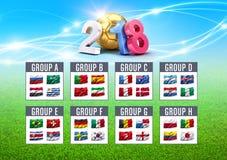 fotbollkonkurrens 2018 i Ryssland stock illustrationer
