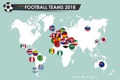Fotbollkopp 2018 Landsflaggor av fotbollslag på världskartabakgrund Vektor för internationell världsmästerskapturnering Fotografering för Bildbyråer