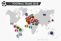 Fotbollkopp 2018 Landsflaggor av fotbollslag på världskartabakgrund Vektor för internationell världsmästerskapturnering Arkivbilder