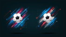 Fotbollkopp 2018, uppsättning för fotbollmästerskapillustration Glödande linjer för dynamiskt neon som isoleras på svart bakgrund vektor illustrationer