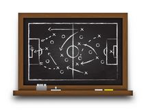 Fotbollkoppbildande och taktik Svart tavla med strategi för fotbolllek Vektor för internationell världsmästerskapturnering royaltyfri illustrationer