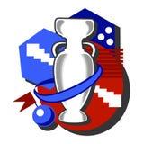 Fotbollkoppillustration i röda och vita färger för blått, i plan stil Arkivbild