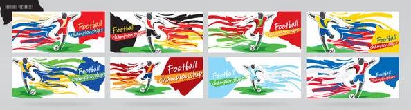 Fotbollkortdesign, fotbollvektoruppsättning stock illustrationer