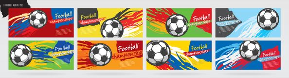 Fotbollkortdesign, fotbollvektoruppsättning vektor illustrationer