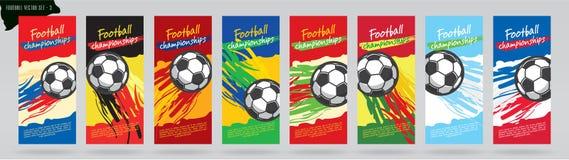 Fotbollkortdesign, fotbollvektoruppsättning royaltyfri illustrationer