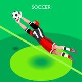 Fotbollkvartersommar spelar den isometriska illustrationen för vektorn 3D Arkivbilder