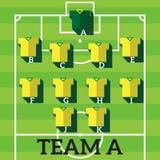 Fotbolllag, fotbollsspelarediagram royaltyfri illustrationer