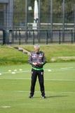 Fotbolllagledare Lucien Favre i klänning av Borussia Mönchengladbach Arkivfoto