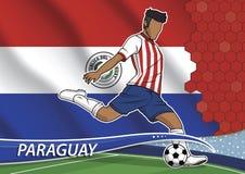 Fotbolllagspelare i enhetliga Paraguay stock illustrationer