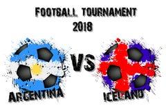Fotbolllek Argentina vs Island vektor illustrationer