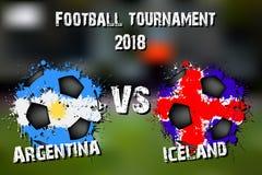 Fotbolllek Argentina vs Island royaltyfri illustrationer