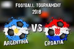 Fotbolllek Argentina vs Kroatien stock illustrationer